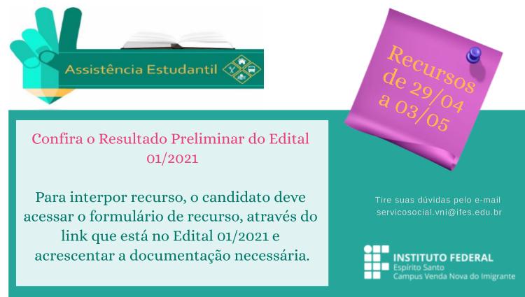 Edital 01/2021 da Assistência Estudantil