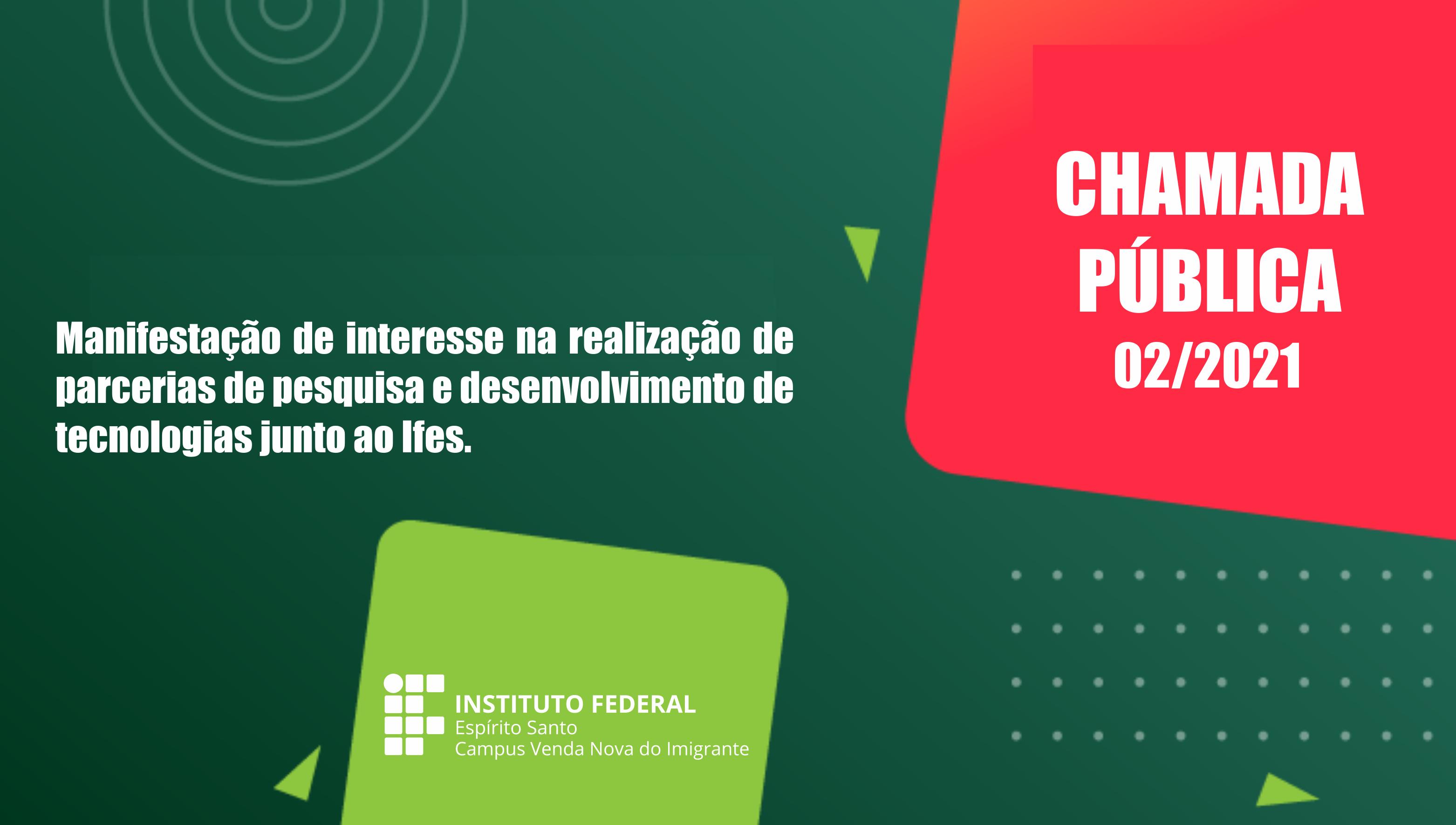Chamada Pública nº 02/2021 para manifestaçãode interesse na realização de parcerias de pesquisa e desenvolvimento de tecnologias junto ao Ifes